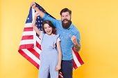 Getting In The Holiday Spirit. Father And Small Child Holding American Flag On National Holiday. Hap poster