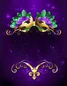 Mardi Gras Gold Mask Of Green And Purple Feathers On A Purple Background. poster
