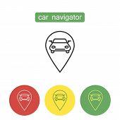 Car Navigation Device Outline Icons Set. Automotive Navigator With Automobile And Pointing Mark. Edi poster
