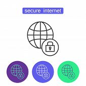 Secure Internet Outline Icons Set. Editable Stroke Mobile Security Sign. Symbol Of Cyber Safety Tech poster