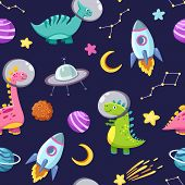 Dino In Space Seamless Pattern. Cute Dragon Characters, Dinosaur Traveling Galaxy With Stars, Planet poster