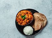 Indian Cuisine Dishes: Tikka Masala, Rice, Samosa, Chapati, . Indian Food On Gray Stone Background W poster