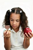 picture of healthy food  - Child decides what to eat healthy or not healthy snack - JPG