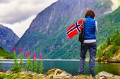 Female Tourist With Norwegian Flag Enjoying Fjord Landscape. Tourism And Traveling Concept poster