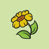 Graphical Sunflower Vector Illustration. Black Flower, Contour Flower, Bloom Flower, Decorative Flow poster
