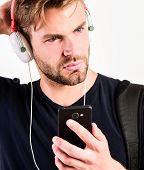 Mp3 Player Concept. Music Application Concept. Enjoy Perfect Music Sound Headphones. Music Gadget. M poster