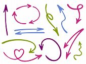 Hand Drawn Diagram Arrow Icons Vector Set. Up Down Pencil Sketch Arrows, Right And Left Side Pointer poster