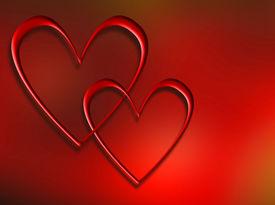 image of valentine heart  - interlocking hearts background - JPG