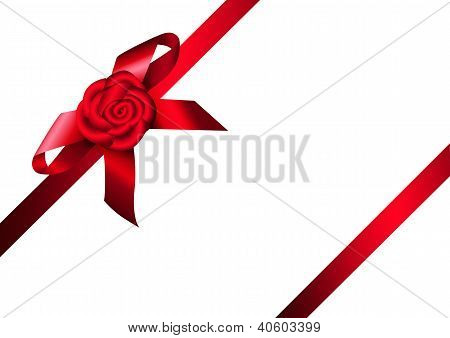 Red Ribbon Rose And Bow