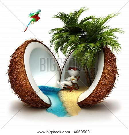 3d white people in a coconut paradise