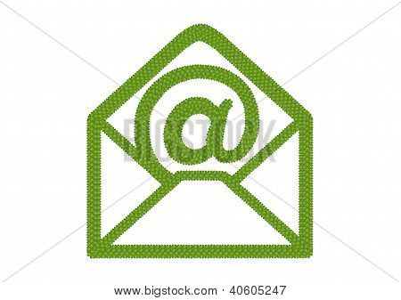 Four Leaf Clover Of Open Envelope Icon With At Sign