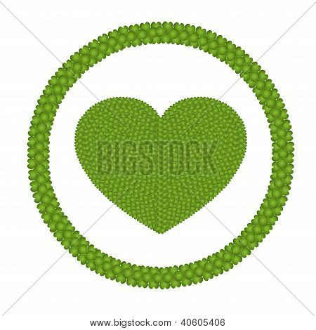 A Four Leaf Clover Of Heart Shape In Circle Frame