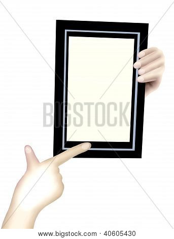 Person Showing A Black Frame In Hands