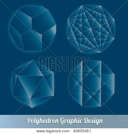 Set vector polyhedron for graphic design element