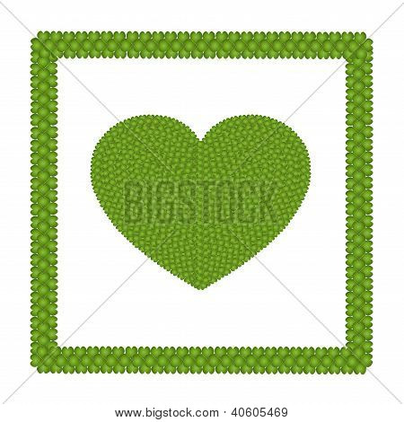 Four Leaf Clover Of Heart Shape Icon In A Frame