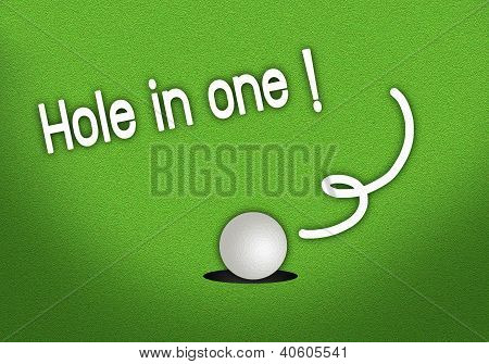 Putted Golfball Dropping Hole In One Shot