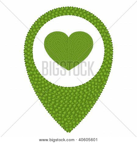 Green Four Leaf Clover Of Heart In Navication Icon