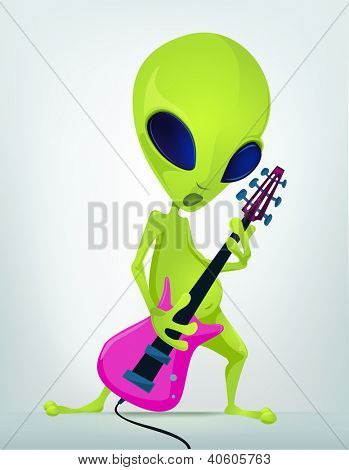 Cartoon Character Funny Alien Isolated on Grey Gradient Background. Rock Star. Vector EPS 10.