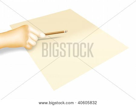 Hand Holding A Pencil For Sketching And Writing On Paper