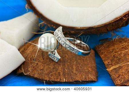 Ring With Pearl On Coconut