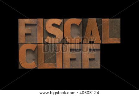 fiscal cliff words in old wood type
