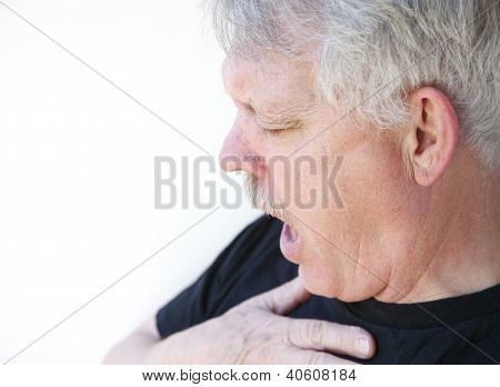 senior man gasping for breath