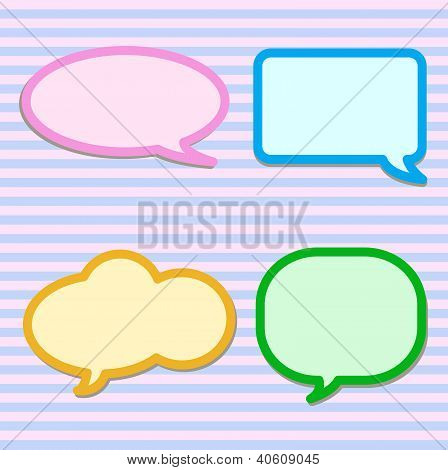 Thought Bubbles On Pink And Blue Striped Pattern
