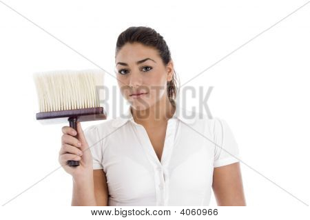 Close Up View Of Female Cleaner Holding Dusting Brush