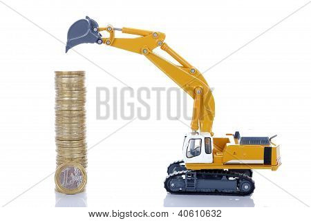 Euro Money Coins With Digger