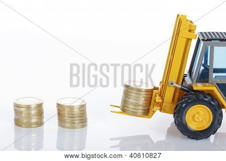 Euro Money Coins And Forklift