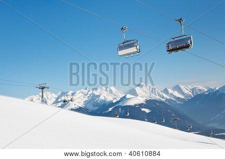 Ski Lift At Ski Resort In The Alps
