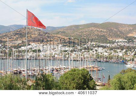 Bodrum And Turkish Flag, Turkey