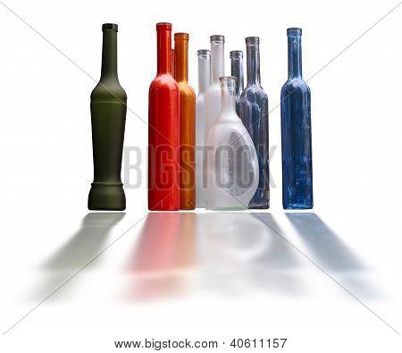 Conjunto de garrafas de bonitas sem rótulo isolado sobre o branco