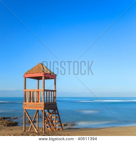 Lifeguard Or Baywatch Wooden Beach Tower, Cabin Or Hut