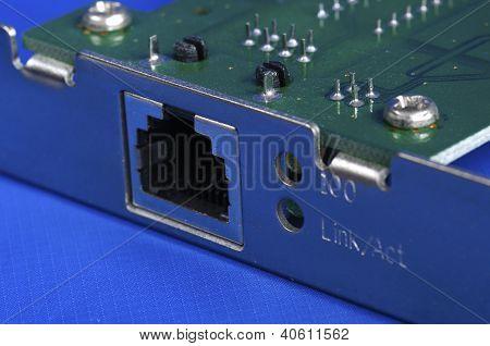 Concepto de tarjeta de red Ethernet de comunicación e internet