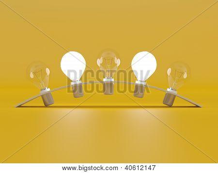 Bulb Lights. 3D Model On Yellow Bakground