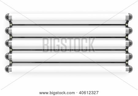 Fluorescent Lamp Tubes On White Background. 3D Model
