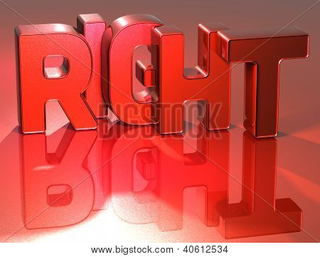 3D Word Right On Red Background