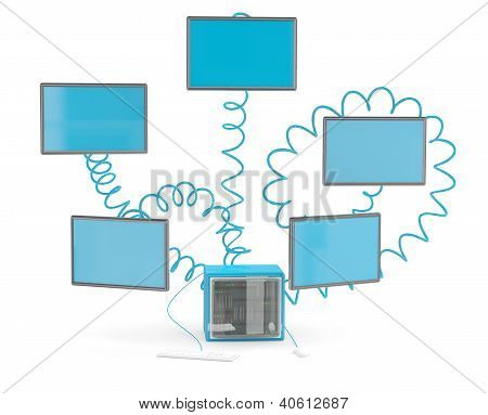 Network Computing Concept. 3D Model On White Background