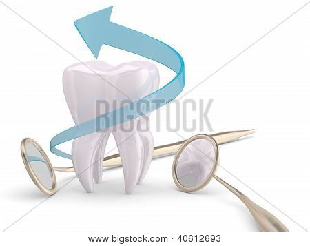 Teeth Protection Cooncept. Dentist Mouth Mirror, Tooth And Blue Arrow