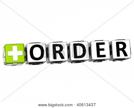 3D Order Button Click Here Block Text