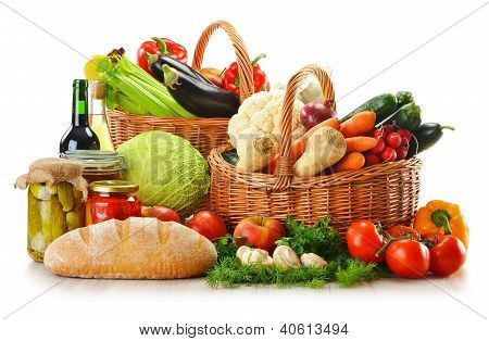 Wicker Basket And Grocery Isolated On White