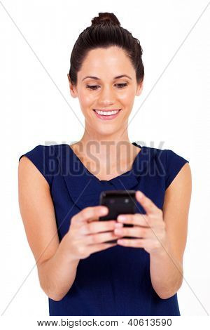 pretty businesswoman reading emails on smart phone isolated on white