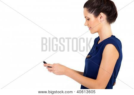 smart young businesswoman reading email on smart phone