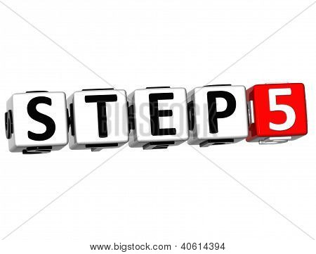 3D Step Button Click Here Block Text
