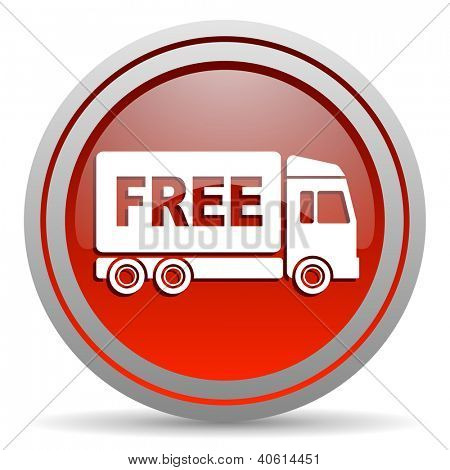free delivery red glossy icon on white background