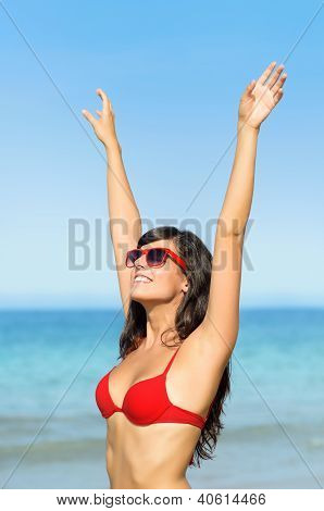 Happy Woman With Sunglasses Summer Tan