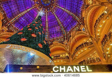 Christmas Tree In Galeries Lafayette, Paris