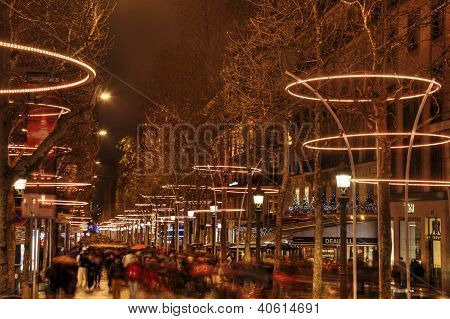 Crowd On Champs Elysees