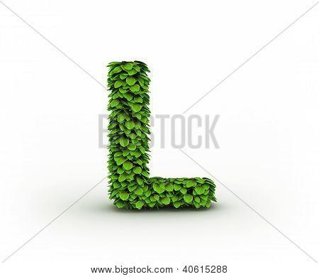 Letter L, Alphabet Of Green Leaves